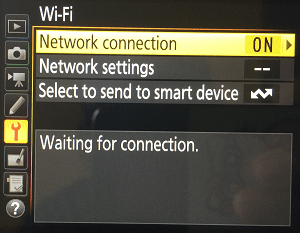 Nikon Wi-Fi Waiting for connection
