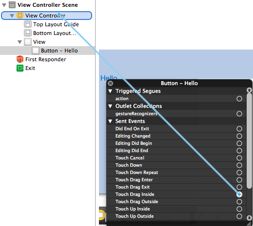 Xcode Connect viewcontroller