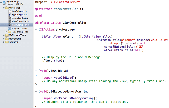 Xcode viewcontroller.m
