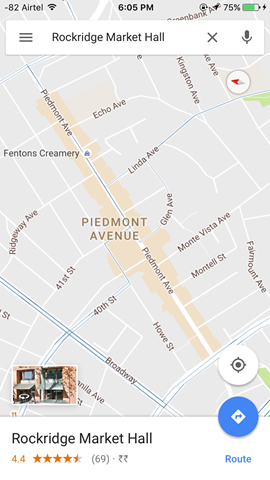 Areas of Interest in Google Maps