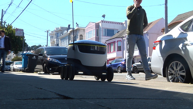 A test run of Starship Technologies' delivery robot on the streets of San Francisco on September 27, 201