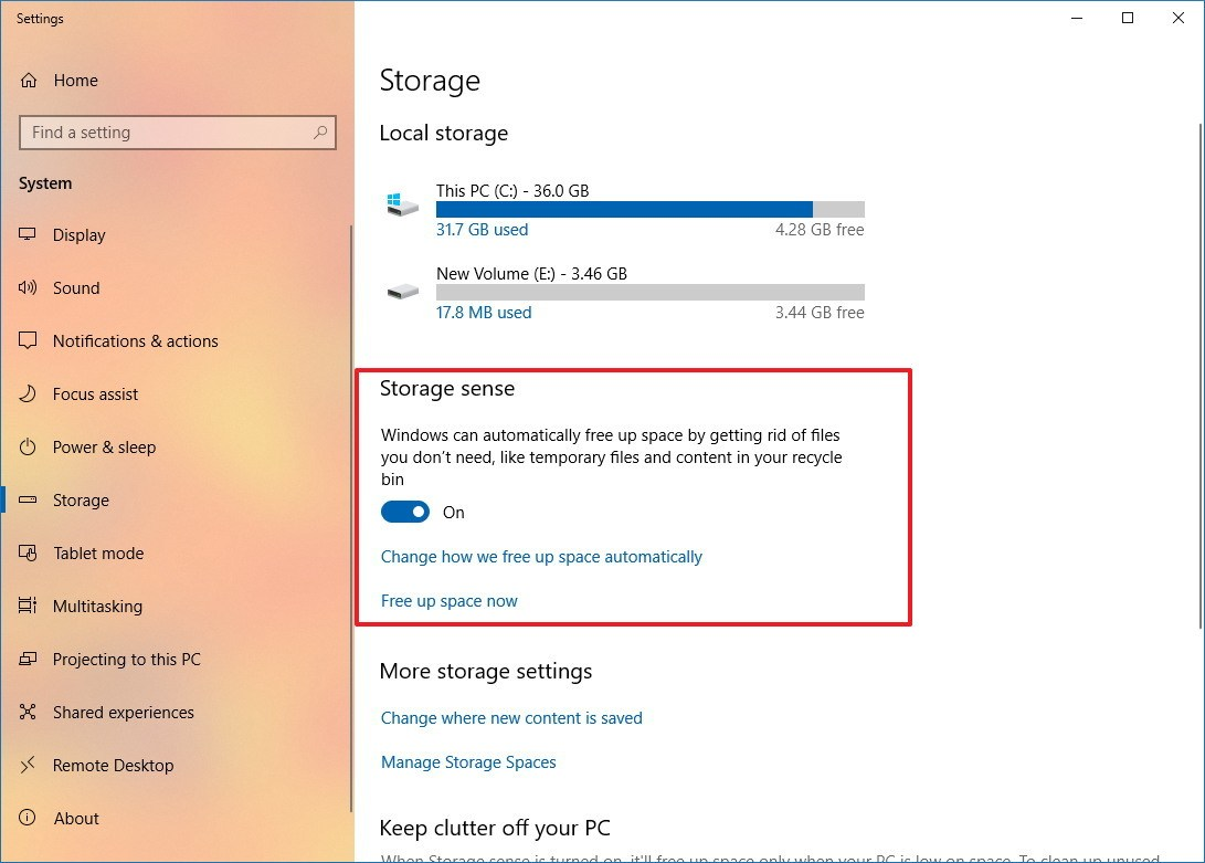 Enable Storage sense on Windows 10