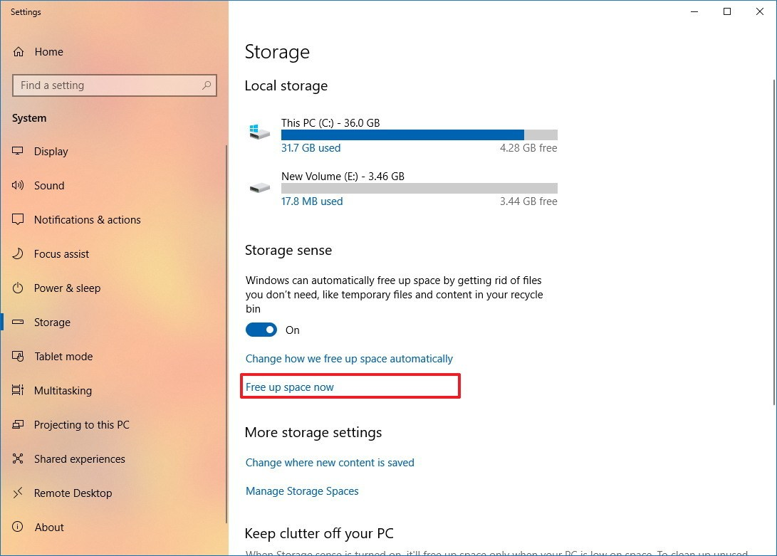 Storage settings on Windows 10