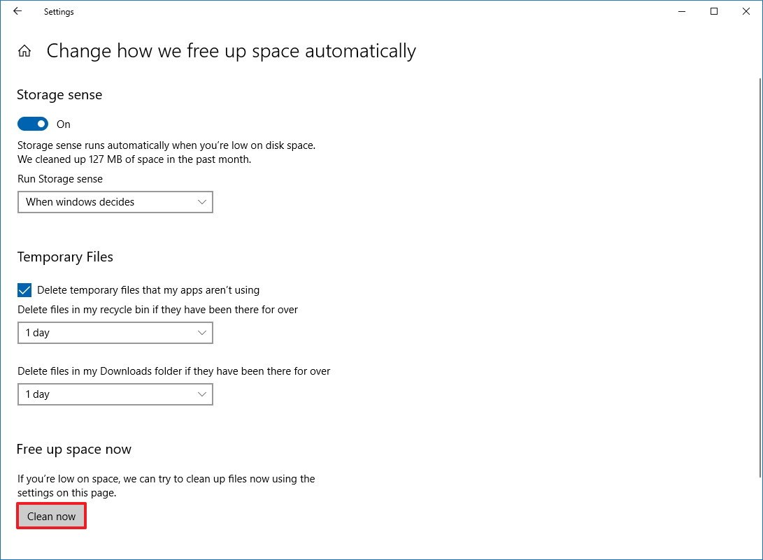 Storage sense settings on Windows 10