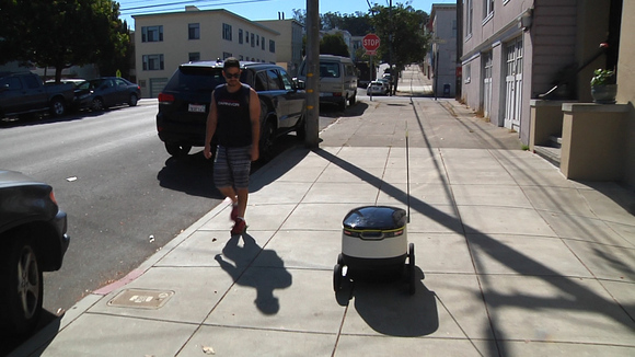 A test run of Starship Technologies' delivery robot on the streets of San Francisco on September 27, 2016