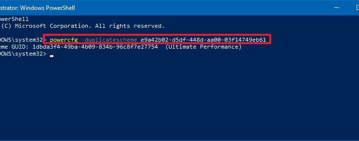 PowerCFG command to enable Ultimate Performance power plan