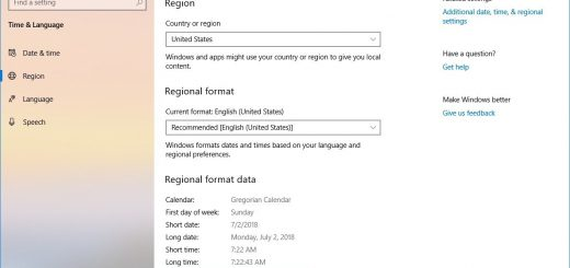 Regional data formats on Windows 10 version 1809